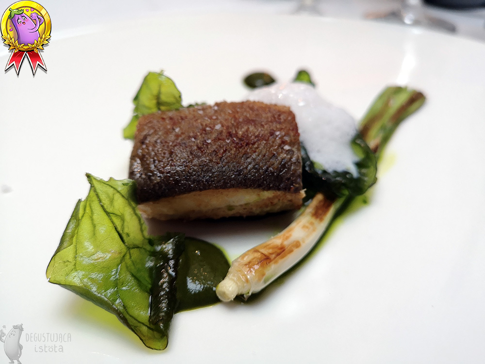 On a white flat plate lies a square piece of fish with a browned crust. Next to it lie glazed spinach leaves and grilled whole spring onion.