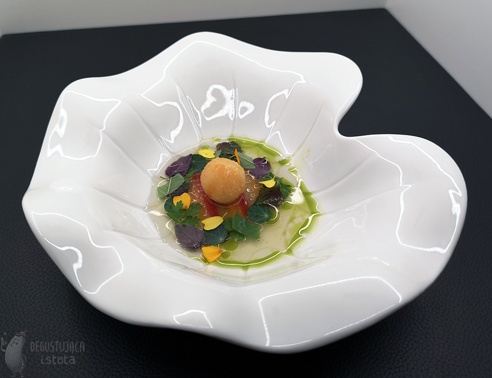 Same plate as above, Only with poured, slightly pink, almost transparent consommé.