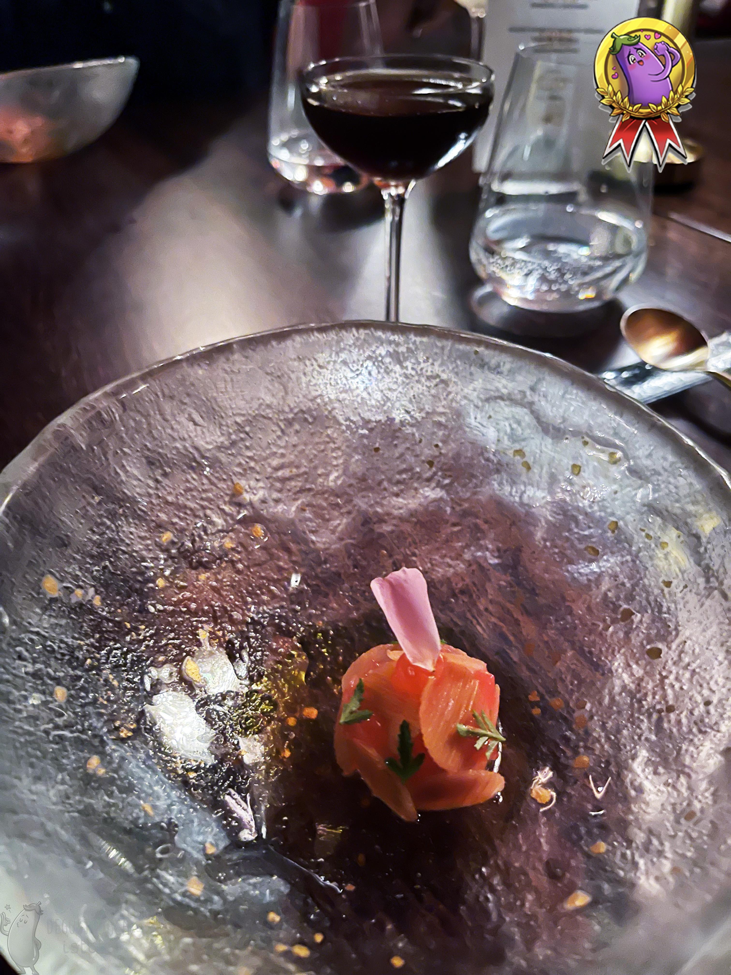 A close-up of a bowl of rhubarb dessert.