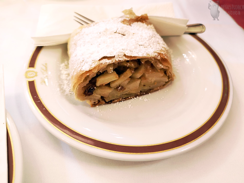A portion of strudel on a white plate.Thin dough dusted generously with powdered sugar. The dough is generously filled with sliced apples and raisins.