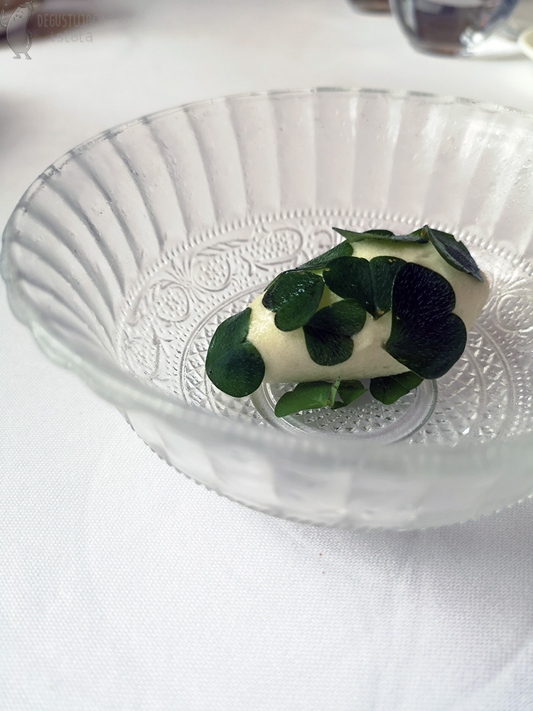 Located on a glass plate there is a white sorbet covered with green leaves.